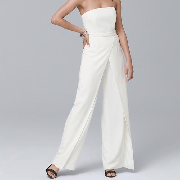 cefdee414c6f White House Black Market split-leg White jumpsuit.  M 5b14880d3c984409bb131cf9